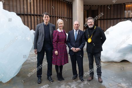 Minik Rosing Professor of Geology at the Natural History Museum of Denmark at Copenhagen University; Justine Simons, Deputy Mayor for London; artist Olafur Eliasson and Michael Bloomberg UN Special Envoy for Climate Action and Founder of Bloomberg LP and Bloomberg Philanthropies launches Ice Watch display blocks of melting glacier ice across two public sites in the centre of London to create a major artwork.
