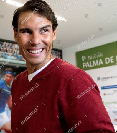 Stock Photo of Spanish tennis player Rafael Nadal attends the presentation of a conference organized by 'Lo que de verdad importa' Foundation in Manacor, Balearic Islands, Spain, 11 December 2018. Spanish tennis player Rafael Nadal, Spanish journalist kidnapped in Syria Antonio Pampliega, Spanish wheelchair tennis player Daniel Caverzaschi and Indian-Australian film actor Saroo Brierley will participate during the conference.