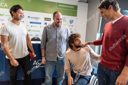 Stock Picture of Spanish tennis player Rafael Nadal (R), Spanish journalist kidnapped in Syria Antonio Pampliega (2-L), Spanish wheelchair tennis player Daniel Caverzaschi (2-R) and Indian-Australian film actor Saroo Brierley (L) attend the presentation of a conference organized by 'Lo que de verdad importa' Foundation in Manacor, Balearic Islands, Spain, 11 December 2018.