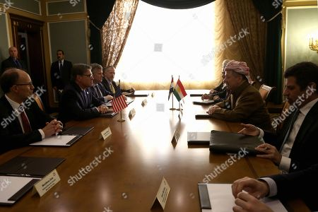 US Energy Secretary Rick Perry (2-L) meets with former President of Iraqi Kurdistan Region and leader of the Kurdistan Democratic Party Masoud Barzani (2-R) in Erbil, Kurdistan Region, Iraq, 11 December 2018. Perry visited Erbil on 11 December following a visit in Baghdad as part of a tour of the Middle East.