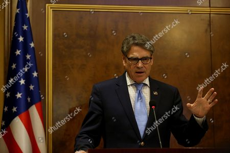 US Energy Secretary Rick Perry speaks during a press conference with former President of Iraqi Kurdistan Region and leader of the Kurdistan Democratic Party Masoud Barzani (not pictured) in Erbil, Kurdistan Region, Iraq, 11 December 2018. Perry visited Erbil on 11 December following a visit in Baghdad as part of a tour of the Middle East.