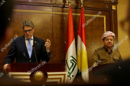 US Energy Secretary Rick Perry (L) and former President of Iraqi Kurdistan Region and leader of the Kurdistan Democratic Party Masoud Barzani (R) give a press conference after a meeting in Erbil, Kurdistan Region, Iraq, 11 December 2018. Perry visited Erbil on 11 December following a visit in Baghdad as part of a tour of the Middle East.