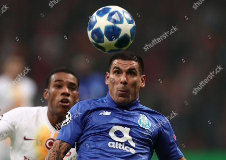 Galatasaray's Garry Rodrigues (L) in action against FC Porto's Maxi Pereira (R) during the UEFA Champions League group D soccer match between Galatasaray and Porto at the Turk Telekom Arena in Istanbul, Turkey, 11 December 2018.