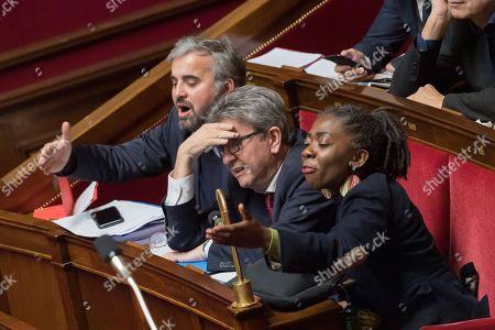 Alexis Corbiere, Jean-Luc Melenchon and Daniele Obono