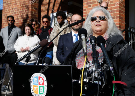 Susan Bro, mother of Heather Heyer, talks to the media in front of Charlottesville Circuit Court after a jury recommended life plus 419 years for Alex James Fields Jr. for the death of Heyer as well as several other charges related to the Unite the Right rally in 2017 in Charlottesville, Va., . Other victims of Fields attack are in the background