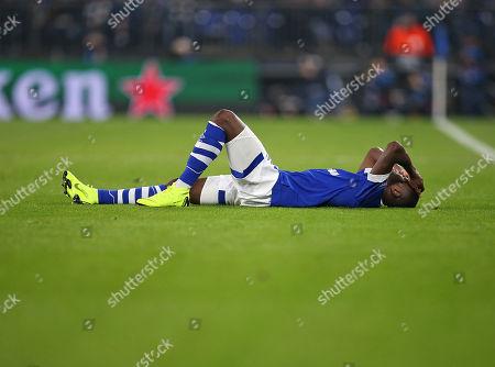 11.12.2018, Football UEFA Champions League 2018/2019, , 6. match day, FC Schalke 04 - Lokomotive Moskau, in VELTINS-Arena Gelsenkirchen. Hamza Mendyl (Schalke) liegt verletzt dejected