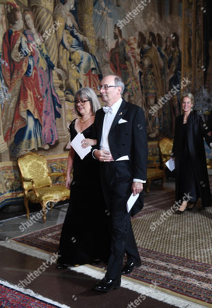 Stock Image of Physics laureate Donna Strickland (L) and her husband Dr Douglas Dykaar arrive for the King's dinner for the Nobel Laureates at the Royal Palace in Stockholm, Sweden, 11 December 2018.