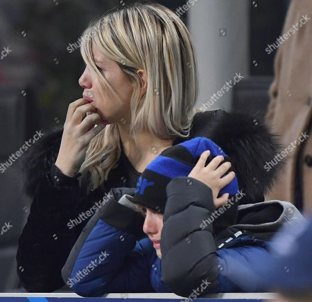 Inter Milan's forward Mauro Emanuel Icardi wife, Wanda Nara, reacts at the end of the UEFA Champions League group B soccer match between Inter and Psv Eindhoven at the 'Giuseppe Meazza' stadium in Milan, Italy, 11 December 2018.