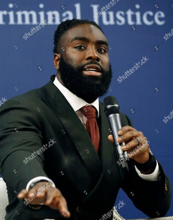 New Orleans Saints linebacker Demario Davis, a member of the Players Coalition Board, speaks about criminal justice reform efforts he has been involved in during a forum on criminal justice reform, at the Mississippi Summit on Criminal Justice Reform in Jackson, Miss., . The meeting was put on by a coalition of groups that favor changes to reduce harshness in the criminal justice system