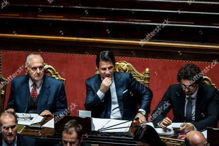 Italian president of the council Giuseppe Conte reports to the Senate, on the financial maneuver and on the European Council. With him the Minister of European Affairs Paolo Savona and Minister of Infrastructure Danilo Toninelli. Chamber of the Senate of the Republic.