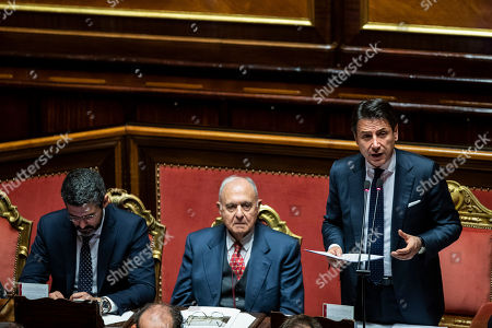 Italian president of the council Giuseppe Conte reports to the Senate, on the financial maneuver and on the European Council. With him the Minister of European Affairs Paolo Savona Chamber of the Senate of the Republic.