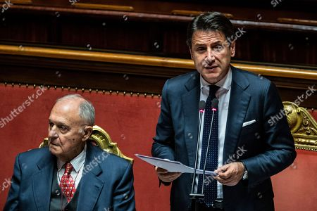 Italian president of the council Giuseppe Conte reports to the Senate, on the financial maneuver and on the European Council. With him the Minister of European Affairs Paolo Savona. Chamber of the Senate of the Republic.