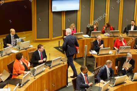 Stock Picture of First Minister for Wales Carwyn Jones walks out of the Senedd