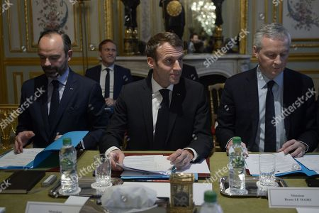 French President Emmanuel Macron Meets with Banking Operators, Paris