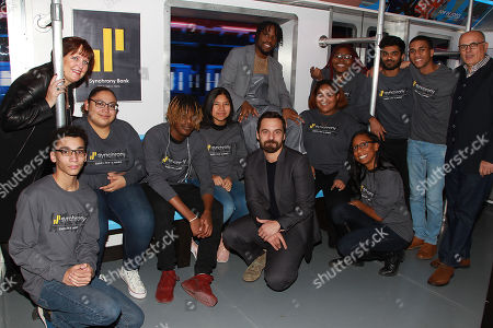 Margaret M. Keane, Jake Johnson and Shameik Moore with buildON Students