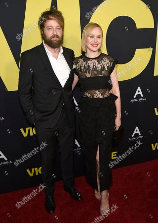 """Joshua Leonard, Alison Pill. Joshua Leonard, left, and Alison Pill arrive at the world premiere of """"Vice"""", at the Samuel Goldwyn Theater in Beverly Hills, Calif"""