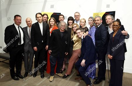 Kevin J. Messick, Producer, Sam Rockwell, Jeremy Kleiner, Producer, Don McManus, Amy Adams, Christian Bale, Hank Corwin, Editor, Robyn Wholey, Executive Producer, Adam McKay, Writer/Producer/Director, Dede Gardner, Producer, Nicholas Britell, Composer, Alison Pill, Lily Rabe, Steve Carell, Justin Kirk, LisaGay Hamilton