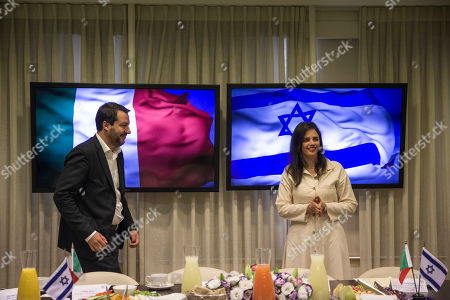 Israeli Justice Minister Ayelet Shaked,right, meets with the Italian Interior Minister and Deputy-Premier Matteo Salvini at the Knesset in Jerusalem
