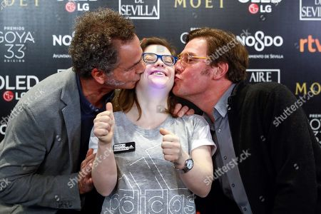 Spanish actress Gloria Ramos (C), nominee for Best Emerging Actress, and producers Luis Manso (L) and Alvaro Longoria (R), crew members of Spanish film Campeones (Champions) during the 33rd Goya Awards nominations ceremony in Madrid, Spain, 12 December 2018. The films 'El Reino' (The Kingdom) by Rodrigo Sorogoyen with 13 nominations and 'Campeones' (Champions) by Javier Fesser with 11 nominations are the favorites to win a Goya statuette in the next Spanish Academy of Motion Picture Arts and Sciences' awarding ceremony which will be held in Seville on 02 February 2019.