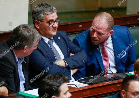 (L-R) Belgium's N-VA's Jan Jambon and N-VA's Steven Vandeput, N-VA's Theo Francken during a special plenary session of the chamber at the federal parliament in Brussels, Belgium, 12 December 2018. On 09 December, Belgium's New Flemish Alliance (N-VA) ministers resigned from the government because of the UN migration pact. They were replaced by other members of the government, that does not have the majority in parliament anymore.