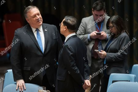 Mike Pompeo, Ma Zhaoxu. American Secretary of State Mike Pompeo, left, speaks to Chinese Ambassador to the United Nations Ma Zhaoxu during a Security Council meeting on Iran's compliance with the 2015 nuclear agreement, at United Nations headquarters