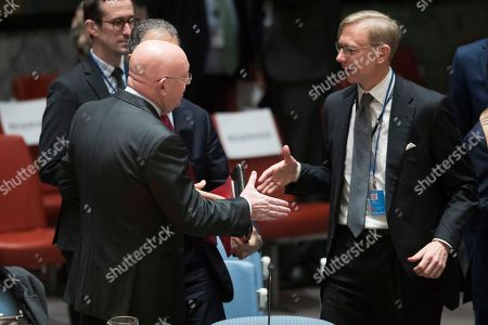 Vassily Nebenzia, Brian Hook. Russian Ambassador to the United Nations Vassily Nebenzia, right, greets the Director of Policy Planning and Senior Policy Advisor to Mike Pompeo, Brian Hook before a Security Council meeting on Iran's compliance with the 2015 nuclear agreement, at United Nations headquarters