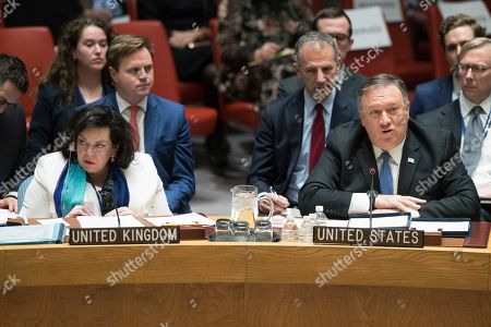 Karen Pierce, Mike Pompeo. British Ambassador to the United Nations Karen Pierce, left, listens as American Secretary of State Mike Pompeo speaks during a Security Council meeting on Iran's compliance with the 2015 nuclear agreement, at United Nations headquarters