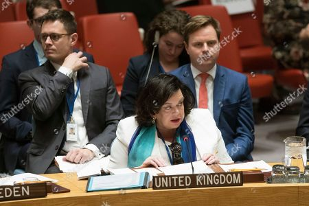 British Ambassador to the United Nations Karen Pierce speaks during a Security Council meeting on Iran's compliance with the 2015 nuclear agreement, at United Nations headquarters