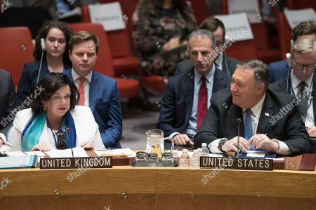 Mike Pompeo, Karen Pierce. U.S. Secretary of State Mike Pompeo, right, listens as British Ambassador to the United Nations Karen Pierce speaks during a Security Council meeting on Iran's compliance with the 2015 nuclear agreement, at United Nations headquarters