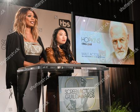 Laverne Cox and Awkwafina announce Male actor in a television movie or limited series, Sir Anthony Hopkins