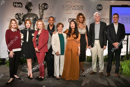 Stock Image of SAG Awards Executive Producer Kathy Connell, SAG Awards Committee Member Elizabeth McLaughlin, SAG Awards Committee Chair JoBeth Williams, SAG Awards Committee Member Jason Winston George, SAG-AFTRA President Gabrielle Carteris, Awkwafina, Laverne Cox, SAG Awards Committee Vice Chair Daryl Anderson, and SAG Awards Committee Woody Schultz