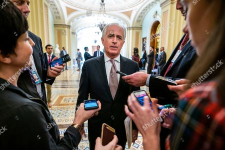 US Republican Senator from Tennessee Bob Corker speaks to the media as the Senate prepares to vote on ending US military support for the Saudi-led war in Yemen, in the US Capitol in Washington, DC, USA, 12 December 2018. Earlier in the day, CIA Director Gina Haspell briefed House leadership on the killing of Saudi journalist Jamal Khashoggi.