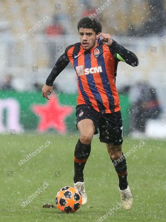Shakhtar Taison controls the ball during the Group F Champions League soccer match between Shakhtar Donetsk and Lyon at the Olympiyskiy stadium, in Kiev, Ukraine, Wednesday, Dec.12, 2018
