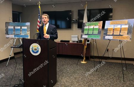 California Insurance Commissioner Dave Jones talks about the costs of recent wildfires during a news conference in Sacramento, Calif. Insurance claims from last month's California wildfires already are at $9 billion and expected to increase, the state's insurance commissioner announced Wednesday