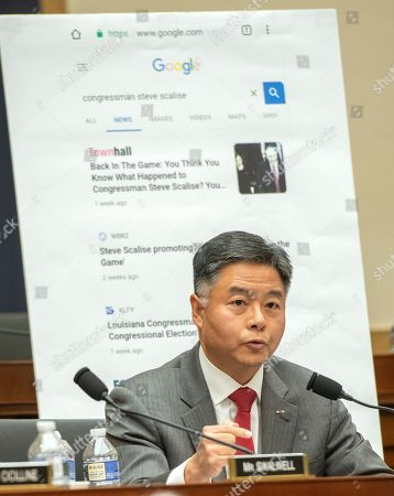 "United States Representative Ted Lieu (Democrat of California) uses a chart as he questions Sundar Pichai, Chief Executive Officer of Google, as he testifies before the United States House Committee on the Judiciary on ""Transparency & Accountability: Examining Google and its Data Collection, Use and Filtering Practices"" on Capitol Hill"