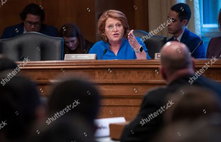 Stock Image of Sen. Heidi Heitkamp, D-N.D., tells a panel of law enforcement officials that efforts to prevent and solve the deaths and disappearance of Native American women must improve, during a hearing by the Senate Committee on Indian Affairs, on Capitol Hill in Washington