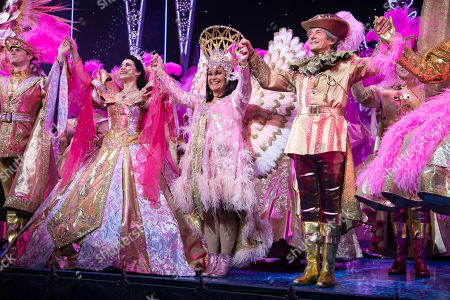 Charlie Stemp (The Prince), Danielle Hope (Snow White), Dawn French (The Wicked Queen) and Nigel Havers (The Understudy) during the curtain call