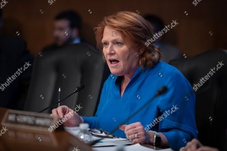 Stock Picture of Sen. Heidi Heitkamp, D-N.D., attends her last hearing with the Senate Committee on Indian Affairs as they examine concerns about investigations into the deaths and disappearance of Native American women, on Capitol Hill in Washington, . Republican Rep. Kevin Cramer, one of President Trump's staunchest allies in Congress, defeated Heitkamp, the first woman elected to the U.S. Senate from North Dakota