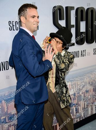 """Alan Aisenberg, Charlyne Yi. Actors Alan Aisenberg, left, and Charlyne Yi attend the world premiere of """"Second Act"""" at Regal Union Square Stadium 14, in New York"""