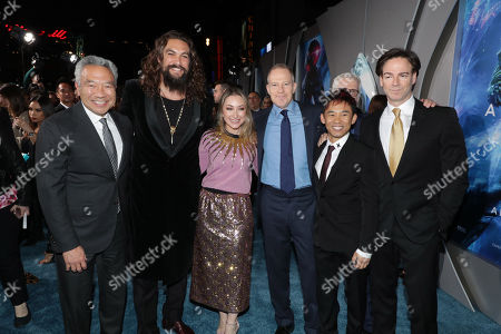 Kevin Tsujihara, Chairman and Chief Executive Officer of Warner Bros., Jason Momoa, Blair Rich, President, Worldwide Marketing, Warner Bros. Pictures Group and Warner Bros. Home Entertainment, Toby Emmerich, Chairman of Warner Bros. Pictures Group, James Wan, Writer/Director, Peter Safran, Producer,
