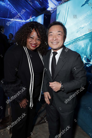 Stock Photo of Pam Lifford, President, Warner Bros. Global Brands and Experiences, Jim Lee, Chief Creative Officer and Co-Publisher of DC Entertainment,