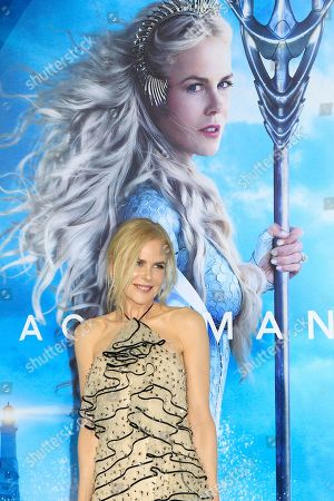 Stock Image of Nicole Kidman attends the world premiere of Aquaman at the TCL Chinese Theatre IMAX in Hollywood, California, USA, 12 December 2018. The movie opens in the US on 21 December 2018.