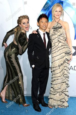 Nicole Kidman (R), US director James Wan (C) and actress/cast member Amber Heard (L) attend the world premiere of Aquaman at the TCL Chinese Theatre IMAX in Hollywood, California, USA, 12 December 2018. The movie opens in the US on 21 December 2018.