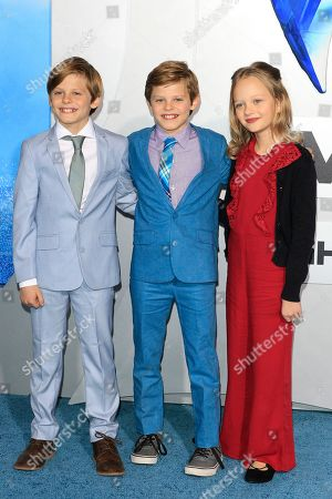 Cameron Crovetti, Nicholas Crovetti and guest attend the world premiere of Aquaman at the TCL Chinese Theatre IMAX in Hollywood, California, USA, 12 December 2018. The movie opens in the US on 21 December 2018.