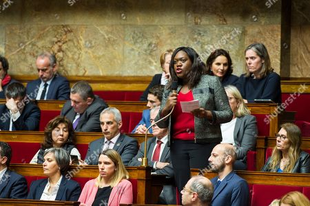 Stock Picture of Laetitia Avia members of the assembly seen speaking at a session of questions to the government at the National Assembly.