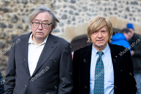 Former Conservative MP David Mellor (left) and Michael Fabricant MP speaking in College Green.