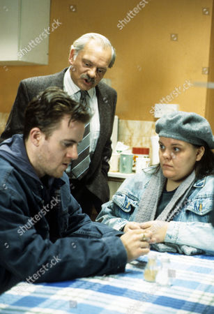 'A Touch of Frost'  TV - 1996 - Deep Waters - Martin Walsh as Richard, David Jason as Frost and Rachel Lumberg as Laura in Frost's flat.