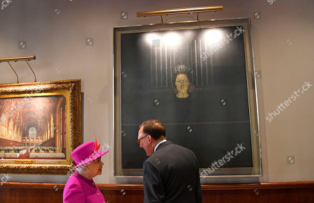 Queen Elizabeth II looking at a portrait of Princess Margaret during a visit to The Honourable Society of Lincoln's Inn to open the new Ashworth Centre, and re-open the recently renovated Great Hall