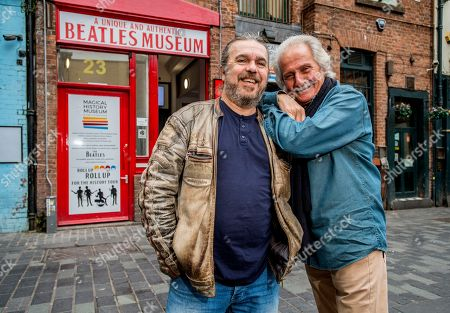 Pete Best (R) and his half brother, Roag Best, outside Roag's Magical History Museum in Mathew Street