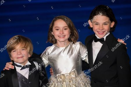 Stock Picture of Joel Dawson, Pixie Davies Billy Barratt. Actors Joel Dawson, from left, Pixie Davies and Billy Barratt pose for photographers upon arrival at the 'Mary Poppins Returns' premiere in London
